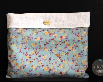 Cotton flower and white washed linen pouch