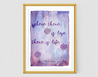 Printable quote print, Purple watercolor art, Mahatma Gandhi quote, Love quote poster, Handwriting phrase
