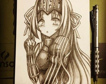CUSTOM  pencil ANIME drawing COMMISSION 6x8 inches *read info before buying*