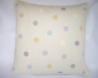Dotty cushion cover in soft colours, 16ins x 16ins.