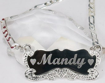 Any Personalized Name Silver Necklace Name Plate Sterling silver 925 necklace Handmade namenecklace