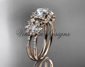 14kt rose gold diamond Cherry Blossom flower, Sakura engagement ring VD8140
