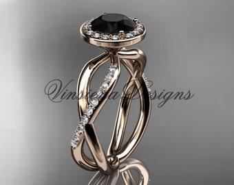 14kt rose gold engagement ring, Black Diamond VD10079