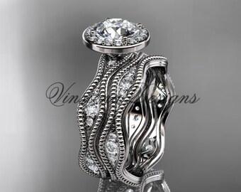 Platinum diamond engagement ring, engagement set VD10081S