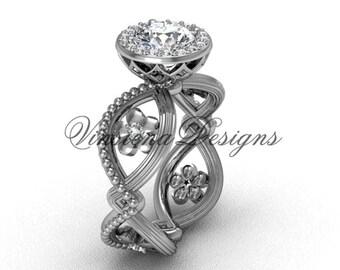 14kt white gold flower engagement ring VF301014