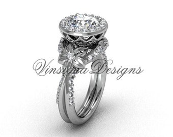 "Flower engagement ring, 14kt white gold flower engagement ring, ""Forever One"" Moissanite VF301017"
