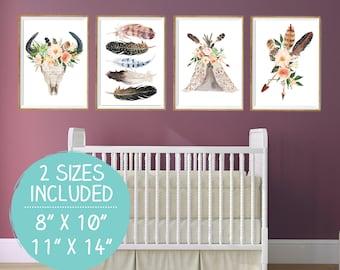Tribal Nursery Decor, Teepee Print, Nursery Print Set, Nursery Wall Art, Printable Nursery, Adventure Print, Adventure Wall Art, Camping Art