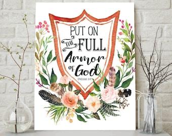 Put On The Full Armor Of God, Ephesians 6:10, Scripture Wall Art, Scripture Art, Scripture Signs, Scripture Print, Christian Wall Art