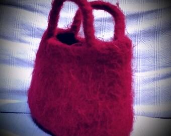 Red felted handbag