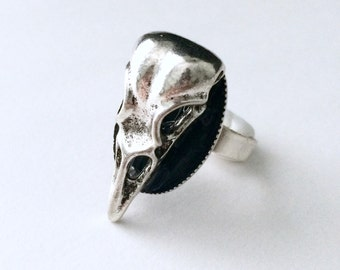 Raven Skull Ring, Gothic Jewelry, Raven Jewelry, Skull Jewelry, Edgar Allan Poe, Silver Skull Ring, Witchy Jewelry, Bird Skull