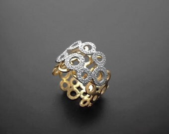 VA015,Diamond Ring, 14k Yellow Gold, 14k White Gold