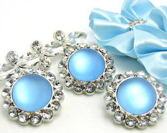 BABY BLUE Frosted Pearl Acrylic Buttons W/ Crystal Clear Surrounding Rhinestones Button Bouquet Garment Coat Buttons 26mm 3185 81P 2R