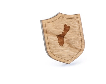 Guam Lapel Pin, Wooden Pin, Wooden Lapel, Gift For Him or Her, Wedding Gifts, Groomsman Gifts, and Personalized