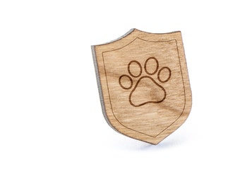 Dog Paw Lapel Pin, Wooden Pin, Wooden Lapel, Gift For Him or Her, Wedding Gifts, Groomsman Gifts, and Personalized
