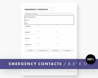 Emergency Contact Sheet, Digital Download - Household Printable PDF - Babysitter Address, Phone Number Info Sheet