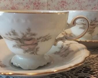 2 teacup set Johann Haviland 1940's sepia rose pattern