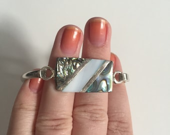 Vintage Mexican Abalone and Mother of Pearl Silver Tone Alpaca Cuff Bracelet