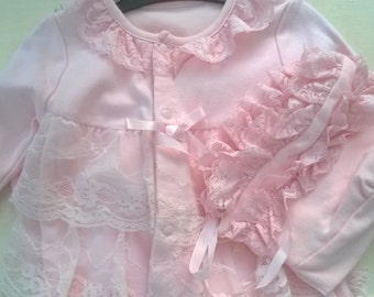 Beautiful Pink Frilly Babygrow and Bonnet.