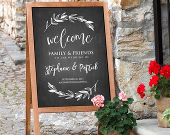 Printable Wedding Welcome Sign, Rustic Chalkboard Wedding, Digital File, Instant Download, Editable Text, PDF Template, 18x24, 24x36 #LSC04