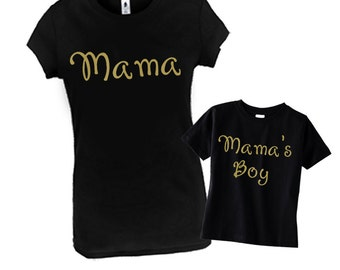 Mama & Mama's Boy, Matching Mommy Son Outfit, Mommy and Me Outfits, Mommy and Baby Matching Shirts, Mother's Day Gift, Mother and Son Outfit