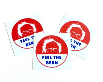 Round 'Feel The Bern' Bernie Sanders Glossy Stickers - for Notebooks & Laptops