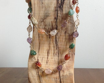 SALE - Wire-wrapped Multi-Gemstone Necklace