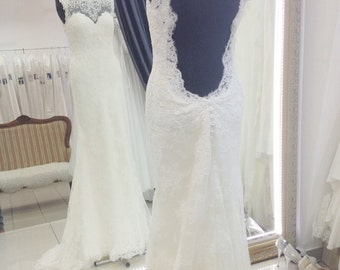 Weding dress Naomi, lace wedding dress. opem back wedding dress, long tail wedding dress, wedding gown, close wedding dress