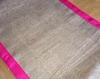 Hot Pink Grosgrain Ribbon Edged Hessian Table Runner, 35cm Wide