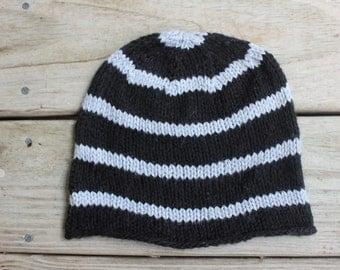Organic Cotton Hat for Kids, Knit Beanie, Striped Kids Hat