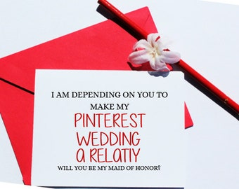 Will You be my Maid of Honor? Wedding Card, Greeting Card, Card, Wedding, Bridesmaid, Maid of Honor, Pinterest, Card for Her