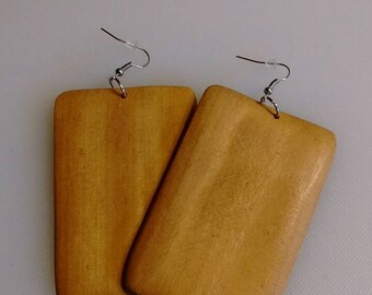 Boho Square Wooden Earrings in Light Brown