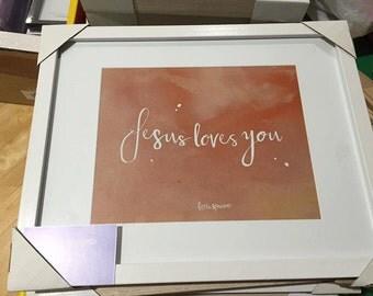 Jesus Loves You (Peach) Framed Print 4x6