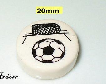 1 ceramic Pearl football 20x8mm (K605. 2)