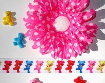 Inspiration Embellishment Kit Gerbera Daisy Silk Flower Grosgrain Ribbon Teddy Bear Resin Flatbacks Hair Bows Hats Home Decor Scrapbooking