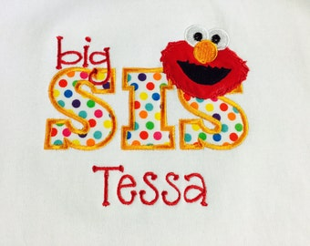 Personalized Elmo Sibling Shirt: Big/Little Brother/Sister - Anna Liam Owen Boutique