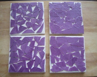 Purple Mosaic Coaster Set of 4 - Matte Color Finish