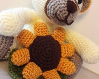 Teddy Bear sunflower-thun-like with amigurumi crochet, crochet, wool, yellow, cream, thun