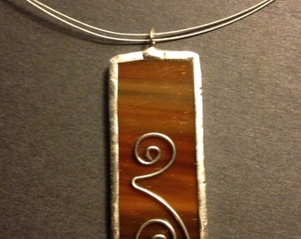 Dark and light brown stained glass necklace