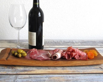 Wine Barrel Tray, Foodie Gift, Wooden Serving Tray, Charcuterie Board, Engagement Gifts For Couples,  Cheese Board, Wine Barrel Staves