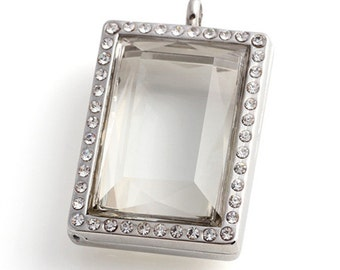 New Design Facted Square Living Glass Floating Locket Silver Tone
