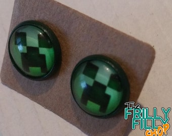 Minecraft CREEPER earring studs