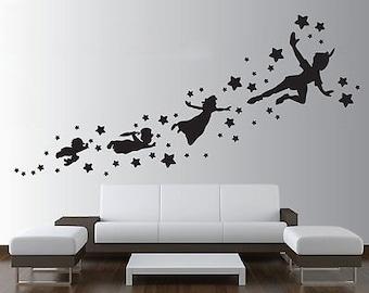 Peter Pan Wall Decal Removable Vinyl Sticker Mural Christmas Kids Children Art