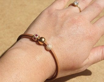 Leather bracelet, Gold Bracelet, Gold and Leather jewelry, 14k Gold Beads, Solid Gold Bracelet, Brown Leather Bracelet, Leather Bracelet