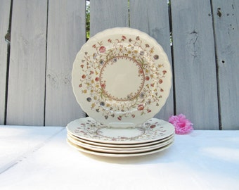 "Metlox Dessert Bloom salad plate, Vernon Kilns 1940s floral dining ware,Metlox poppy trail,collectible circular floral design,7 1/4"" plate,"