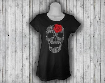 Rose Skull Tee - Mexican Calavera - Day of the Dead - T-shirt