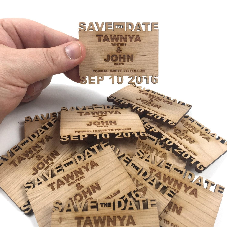 Custom Save the Date Cutout name wood Fridge Magnets 2 inch x 3 ...