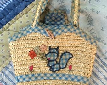 Vintage Straw Handbag for Kids