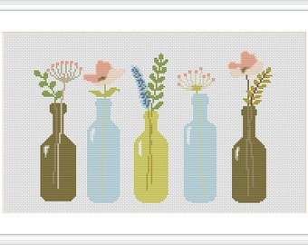 Flowers PDF Cross Stitch Pattern Flower Arrangement Modern cross stitch pattern Decor cross stitch pattern Flower pattern X080
