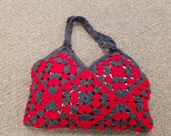 Granny Square Crochet Hand Bag