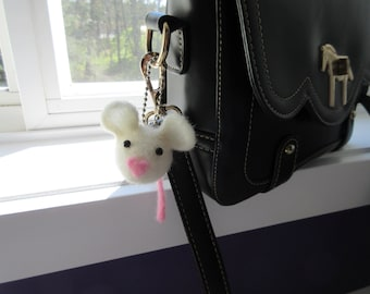 Felted Love Mouse Key Chain in White